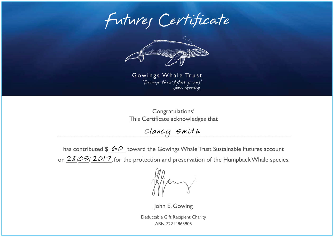 Donation Certificate Gowings